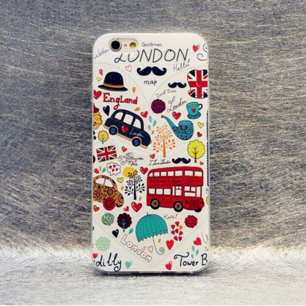 Phone Cover Love London Black Red White Moustache Cute Illustration Hipster