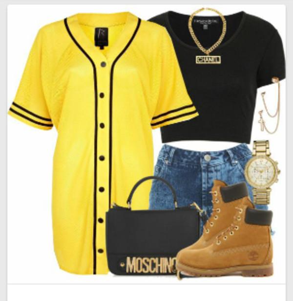 blouse shirt shoes shorts bag yellow top jersey tee