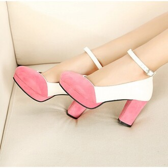 shoes low heel round toe chunky heel