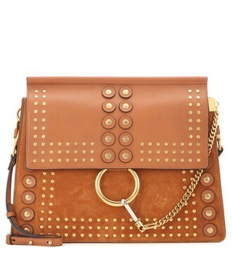 embellished bag shoulder bag leather suede brown