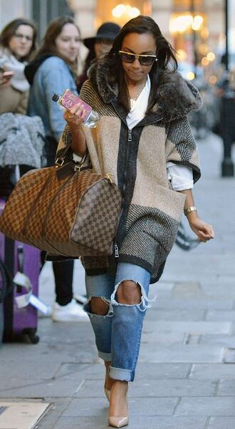 coat fall outfits denim jeans pumps little mix leigh-anne pinnock