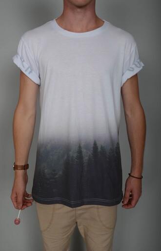 t-shirt trees wihte grey t-shirt