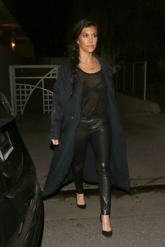 coat pants leather pants leather see through all black everything kourtney kardashian pumps kardashians
