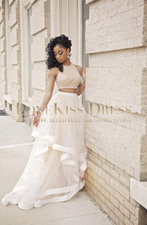 Aliexpress Buy Formal Beaded Crop Top Two Piece Prom Dress Sleeveless 2015 Lovely 2 Dresses From Reliable Up Old