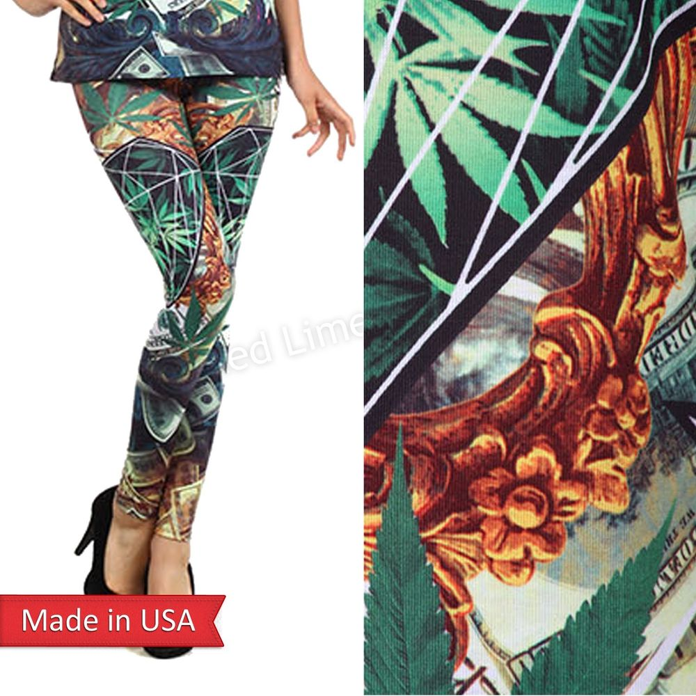 Star Diamond Hemp Cannabis Marijuana Weed Pot $100 Bill Leggings Tights Pants US