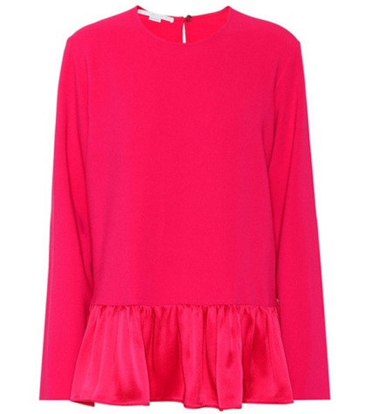 Stella McCartney Stretch cady peplum blouse in pink