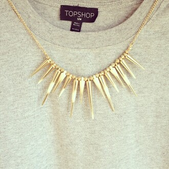 jewels necklace gold spike spikes stud studs hipster indie jewelry statement necklace