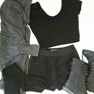 shorts black shorts cute shorts knee high socks cardigan top dope vintage crop tops black crop top black boots knitwear alternative trendy fashion inspo winter swag