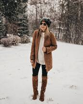 coat,brown coat,wool coat,white blouse,oversized blouse,leather boots,over the knee boots,leggings,black beanie,brown wool coat