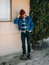 stay classic,blogger,jacket,shirt,shoes,jeans,jewels,sunglasses,hat,beanie,denim jacket,boots
