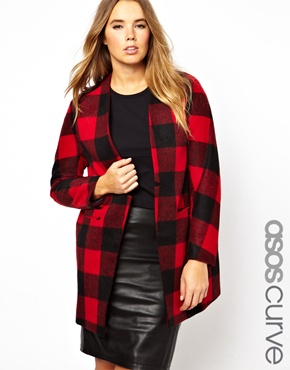 ASOS Curve | ASOS CURVE Longline Jacket In Plaid at ASOS