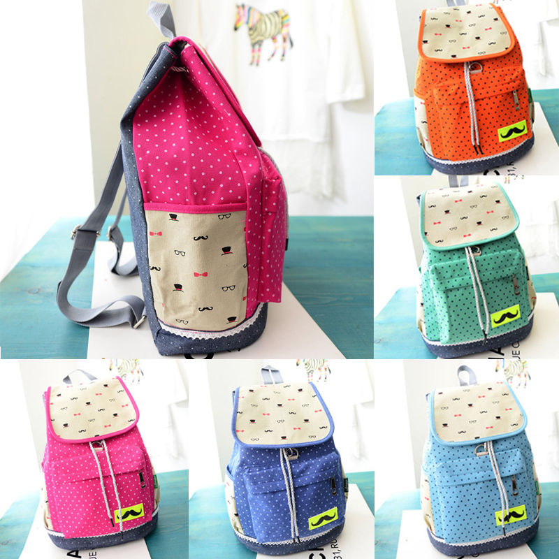 New fashion women mustache backpack school bag campus satchel shoulder bag