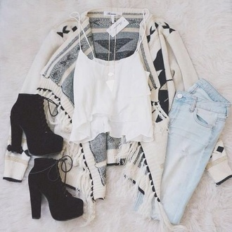 shoes boho boho chic hippie outfit summer summer outfits jeans pale grunge hipster wishlist hipster knitwear knitted cardigan necklace boots black boots heels laces combat boots country style country