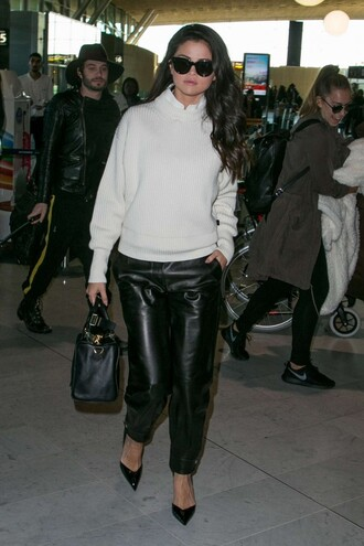 pants pumps sweater selena gomez fall outfits fall sweater shoes
