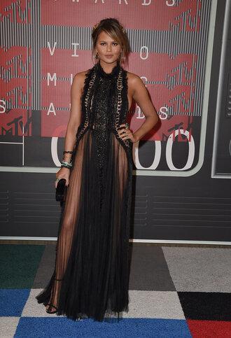 dress gown lace dress black dress sandals vma prom dress chrissy teigen