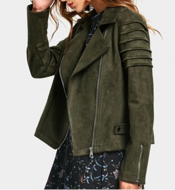 jacket girly green suede suede jacket biker jacket