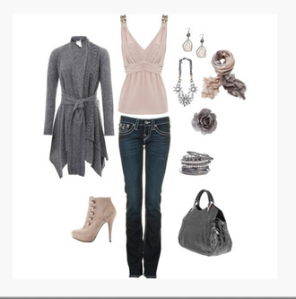 tank top top shirt v neck empire waist blush top jeans cardigan grey cardigan gray cardigan heels boots pumps purse bag bracelets bangle earrings scarf necklace clothes outfit blouse nude tank top with rhinestones