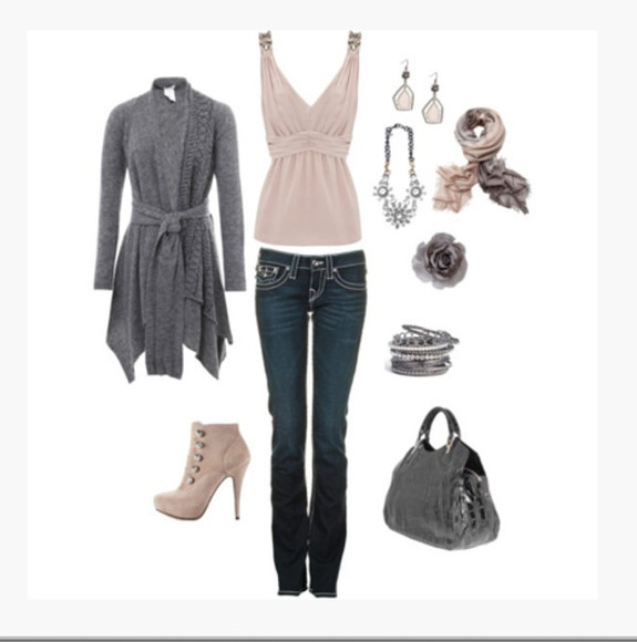 clothes jeans outfit top bag bangles shirt earrings bracelets high heels purse tank top pumps v neck empire waist blush top cardigan grey cardigan gray cardigan boots scarf necklace