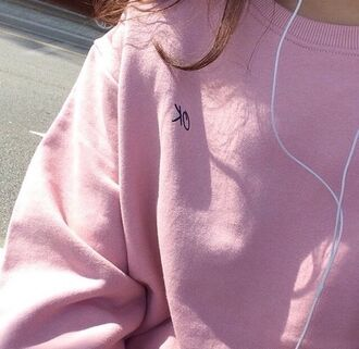 sweater pink ok sweatshirt pastel jumper