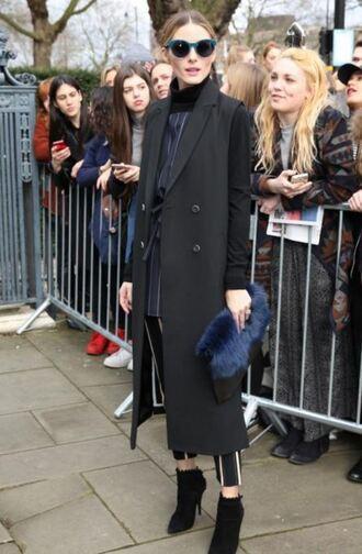 shoes top ankle boots pants coat olivia palermo blogger fashion week 2016 london fashion week 2016 sunglasses