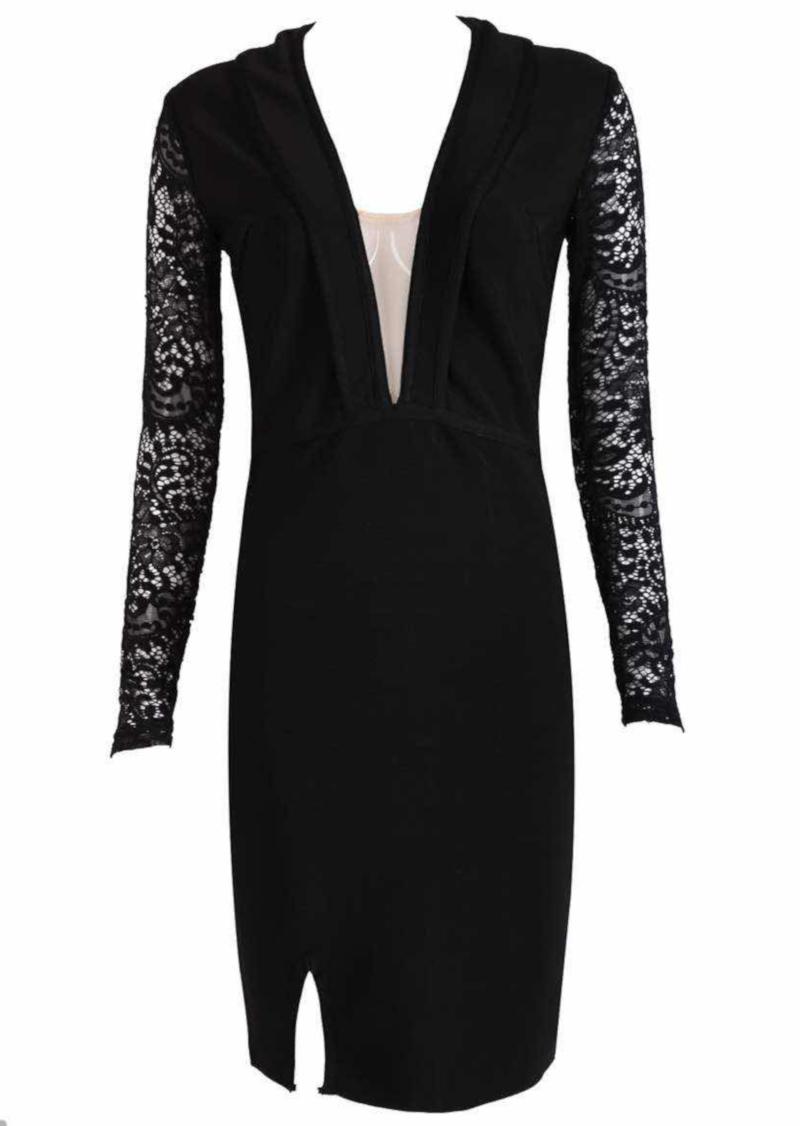 Lace Long Sleeve Plunge Bandage Dress Black