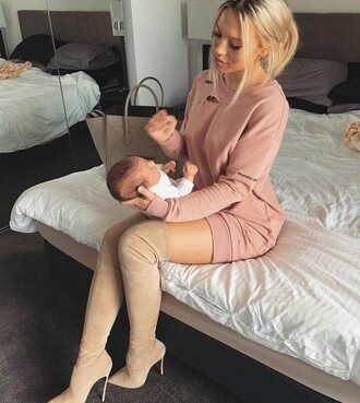sweater sweater dress pink dress holes shoes tammy hembrow boots long nude thigh high boots dress mauve pink
