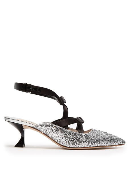 bow glitter embellished mules silver shoes