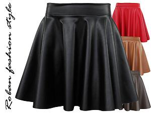 New italian eco leather mini skater style skirt now £13 99