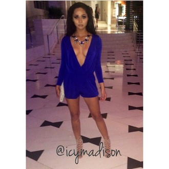 romper cobalt low cut dress nude high heels necklace v neck