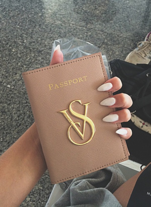 phone cover passport cover passport cover victoria's secret victoria's secret bag home accessory beige vs