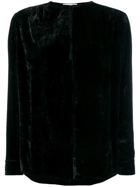 Stella McCartney - velvet keyhole blouse - women - Silk/Viscose - 38, Black, Silk/Viscose