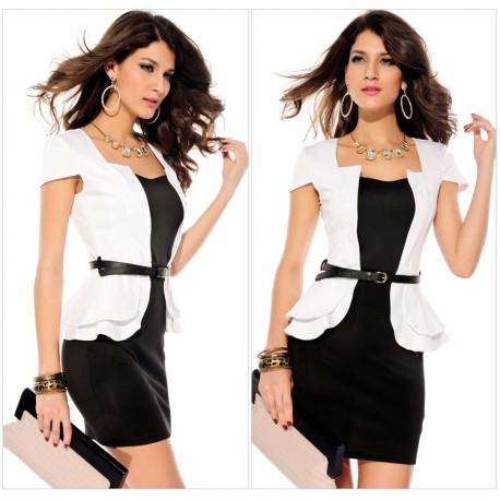 White Elegant Cap sleeve Peplum Mini Bodycon Dress With Belt lml6084A - lol-malls - Trustful Online Shopping for Women Dresses