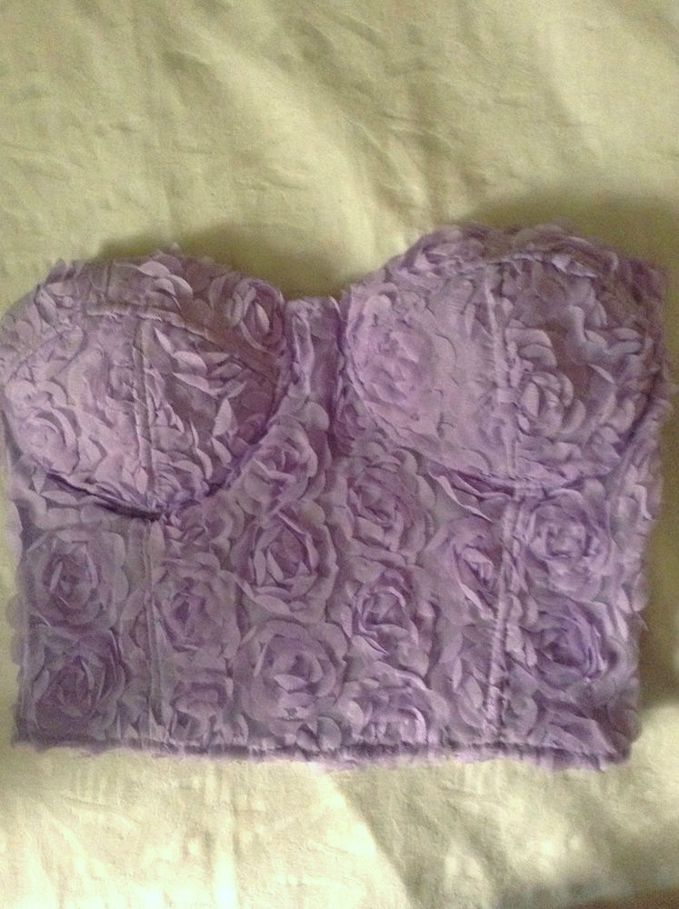 Purple Lilac Rose Crop top bralet tube fashion grunge vintage chic floral