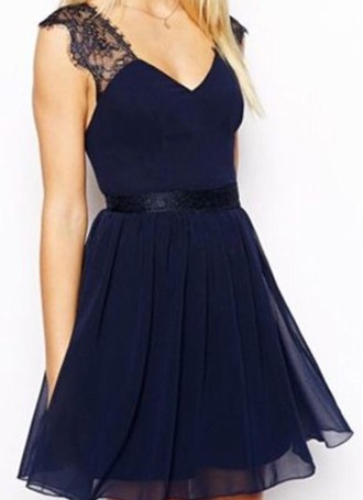 dress navy plunge sleeveless simple dark blue