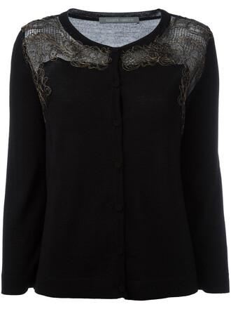 cardigan women cotton black wool sweater