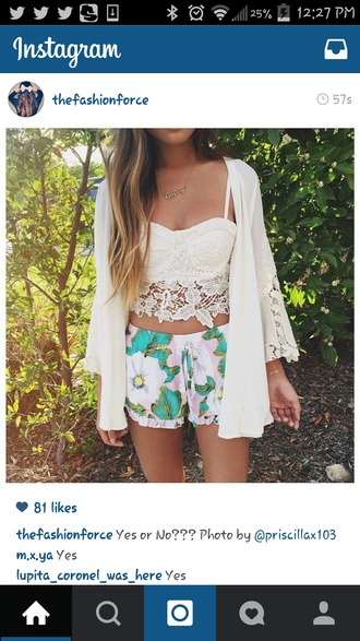 top white crop tops lace top cardigan shorts