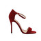 Red suede ankle strap sandals