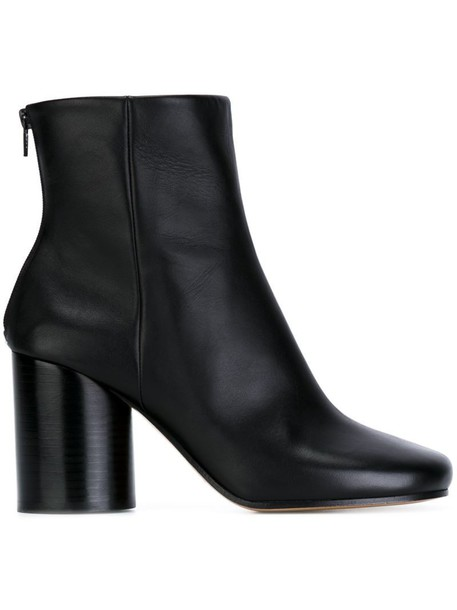 heel boot women leather black shoes
