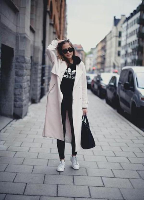 shoes white coat black bag sunglasses black leggings adidas shoes blogger adidas sweater
