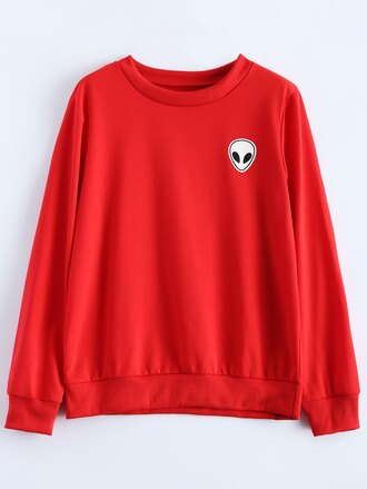 sweater alien red fall outfits long sleeves fashion casual zaful