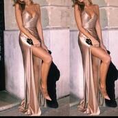 dress,silk,satin,prom,gown,pink,slip,silk dress,nude dress,prom dress,pink dress,long dress,shiny dress,slip dress