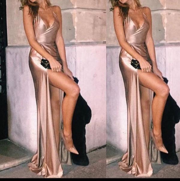dress silk satin prom gown pink slip silk dress nude dress prom dress pink dress long dress shiny dress slip dress