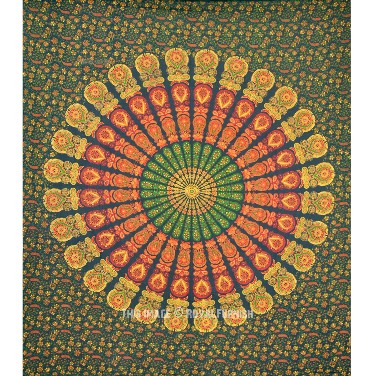 Indian Mandala Hippie Bohemian Tapestry Coverlet - RoyalFurnish.com