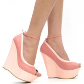 shoes,wedges,two-toned pink,pink wedges,katy perry,spring outfits,summer,peep toe wedges,ankle strap wedges