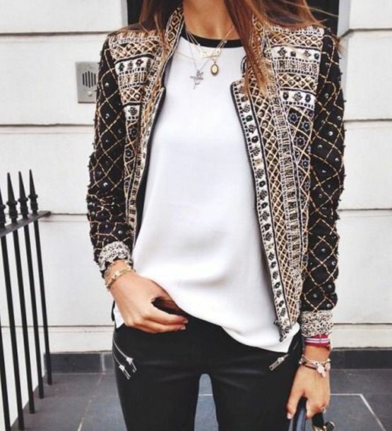 coat jacket black brown cream jewels black white sparkle pearl beaded shiny classy feminine