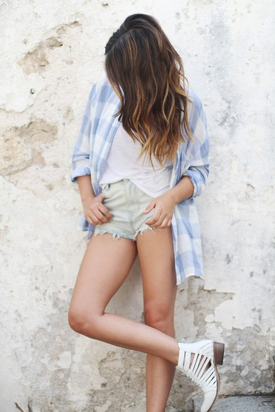 nastygal blouse hipster denim shorts dulceida shoes shorts ripped shorts flannel boots summer outfits pull and bear blogger
