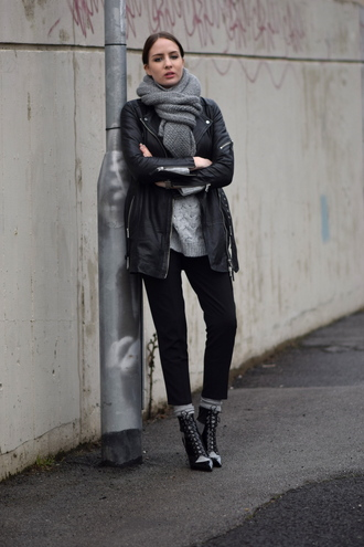 shot from the street blogger knitted sweater black jacket