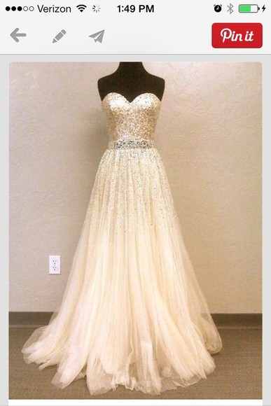 dress long dress gold sequins strapless wedding dresses