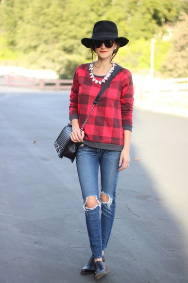 frankie hearts fashion blogger jewels sunglasses bag ripped jeans flannel