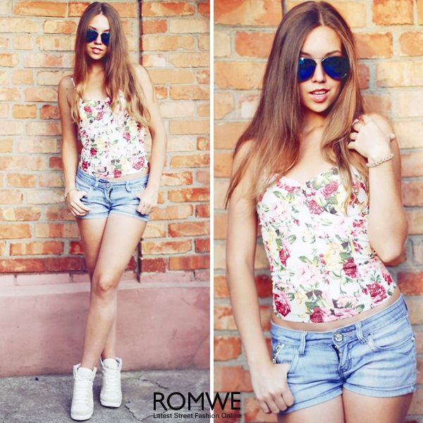 ROMWE | Retro Flower Print Skinny White Vest, The Latest Street Fashion